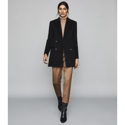 Marloe Black Double Breasted Short Wool Coat