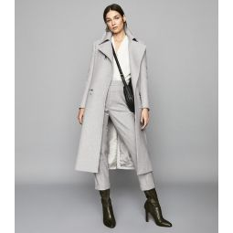 Anders Grey Melange Longline Overcoat With Zip Detail
