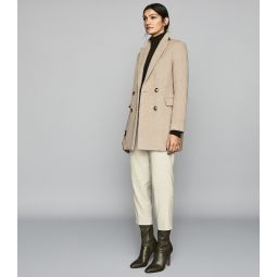 Marloe Neutral Double Breasted Short Wool Coat