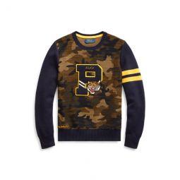 Camo Cotton Letterman Sweater