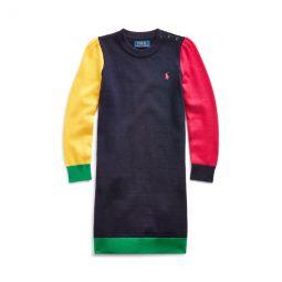 Color-Blocked Wool-Blend Dress