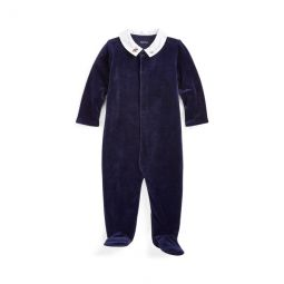 Embroidered Velour Coverall