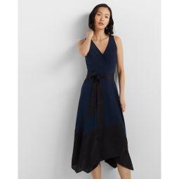 Colorblock Wrap Dress