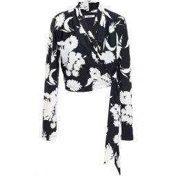 Black Alameda floral-print stretch-jersey wrap top