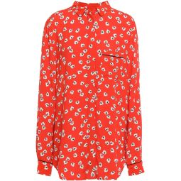 Red Silvery floral-print crepe shirt