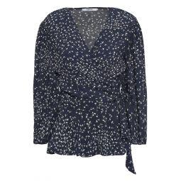 Midnight blue Barra ruffled floral-print crepe wrap top