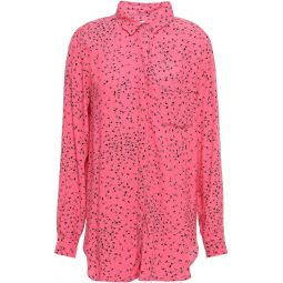 Pink Barra floral-print crepe shirt