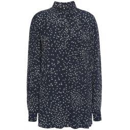 Midnight blue Barra floral-print crepe shirt