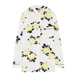 Ivory Silvery floral-print crepe shirt