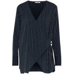 Midnight blue Lynch pinstriped silk-blend seersucker wrap top