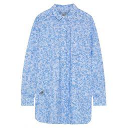 Light blue Sage embroidered floral-print cotton-poplin shirt