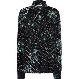 Black Rometty ruffled floral-print georgette blouse