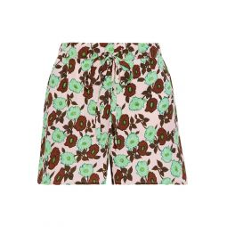 Baby pink Luciano floral-print crepe shorts