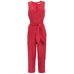 Papaya Cropped belted silk crepe de chine jumpsuit