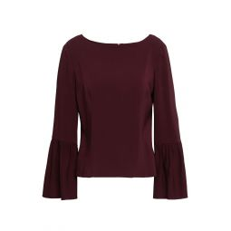 Merlot Fluted stretch-crepe blouse