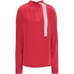 Red Buckled silk crepe de chine blouse