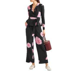 Black Leopard-print silk crepe de chine wrap top