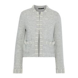 Gray Faux pearl-embellished brushed ribbed-knit cardigan
