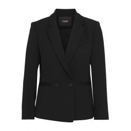 Black Valmy double-breasted crepe blazer
