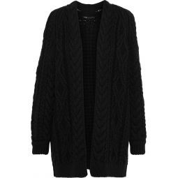 Black Mouffle cable-knit wool-blend cardigan