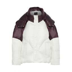 White Brax quilted two-tone shell hooded coat