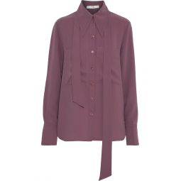 Plum Tie-neck cady shirt
