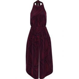 Plum Cropped printed silk halterneck jumpsuit