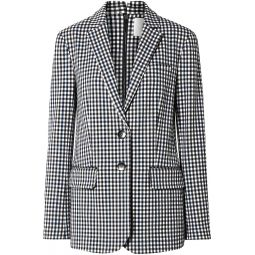 Black Zip-detailed gingham twill blazer