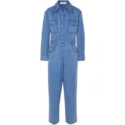 Azure Cotton-blend twill jumpsuit