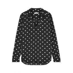 Black Adalyn printed crepe de chine shirt