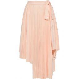 Peach Asymmetric pleated crepe skirt