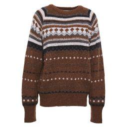 Brown Brushed jacquard-knit sweater