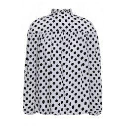 White Lancing gathered polka-dot crepe de chine blouse