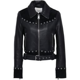 Black Eyelet-embellished suede-paneled leather biker jacket