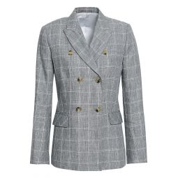Light gray Double-breasted checked linen-blend blazer