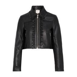 Black Bollant cropped ruffle-trimmed leather biker jacket
