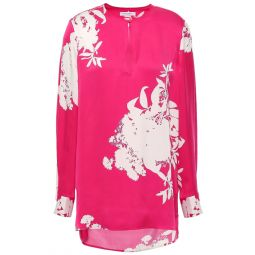 Bright pink Delainey floral-print washed silk-blend blouse