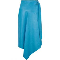 Azure Asymmetric buckle-detailed leather midi skirt