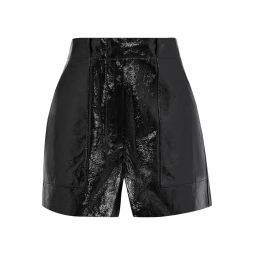 Black Crinkled patent-leather shorts