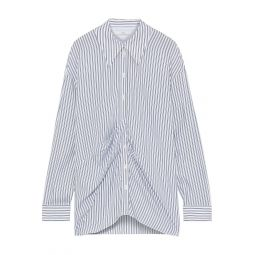 White Pleated striped Tencel shirt