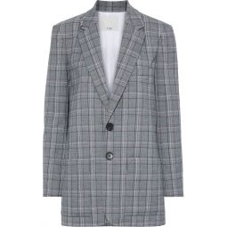 Anthracite James embellished checked woven blazer