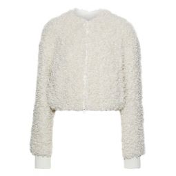 Ivory Cropped faux shearling jacket