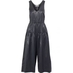 Black Cropped ruched coated-shell wide-leg jumpsuit
