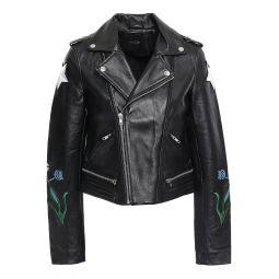 Black Embroidered leather biker jacket
