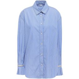 Light blue Embellished striped cotton-poplin shirt