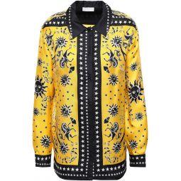 Yellow Printed silk-twill shirt