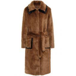 Camel Belted faux fur coat