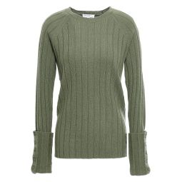 Leaf green Joella ribbed wool and cashmere-blend sweater