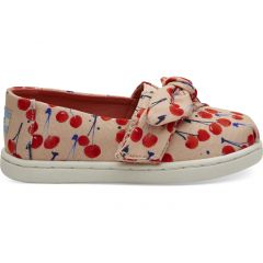 Coral Pink Cherry Cherie Print Bow Tiny TOMS Classics