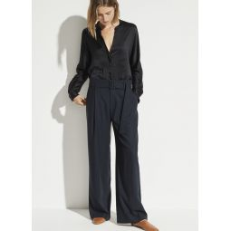 Belted Flannel Wide Leg Pant